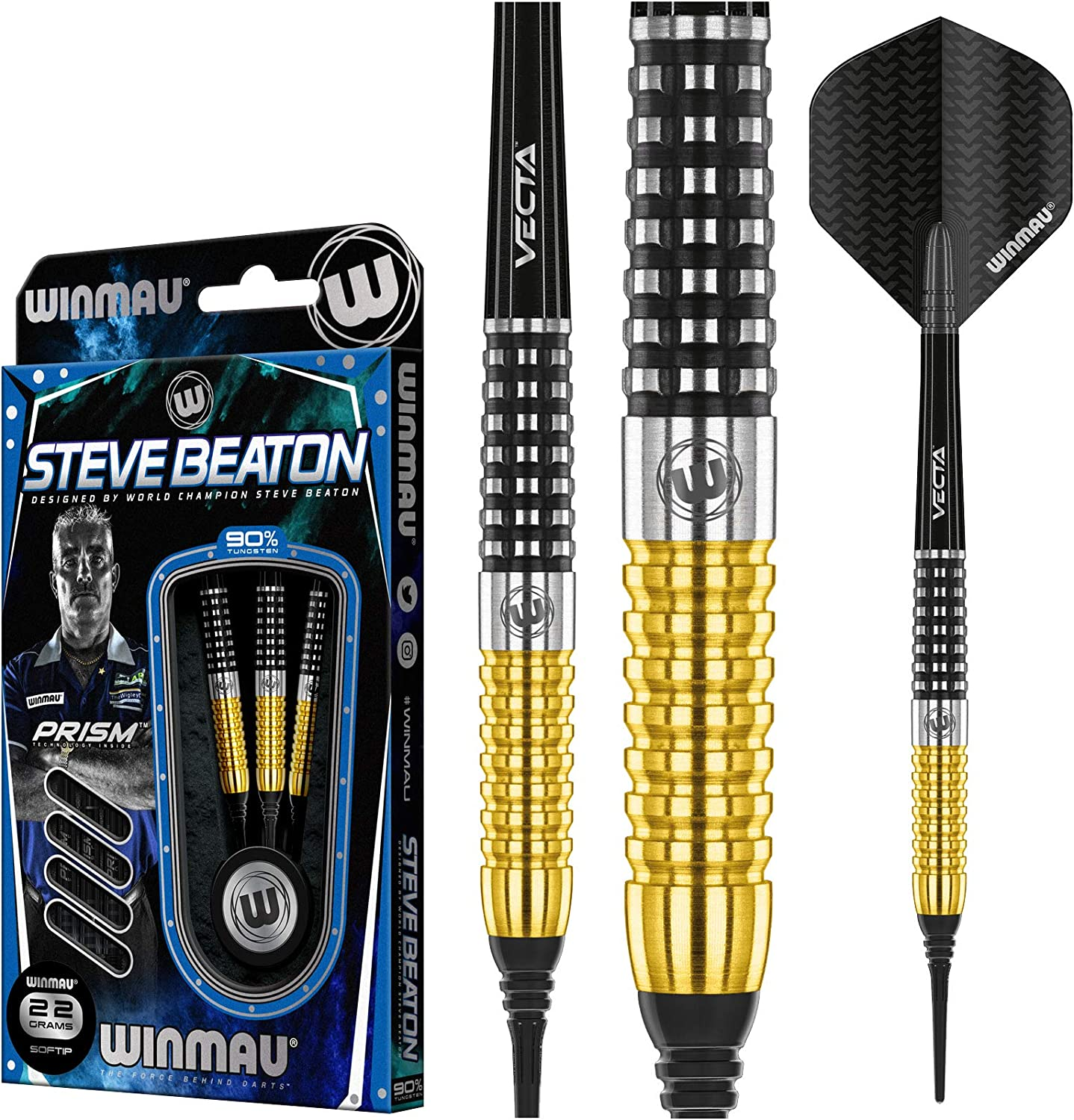 WINMAU Steve Beaton Special Edition 20 Gram Tungsten Softip Darts Set with Prism Flights and Vecta Shafts Stems