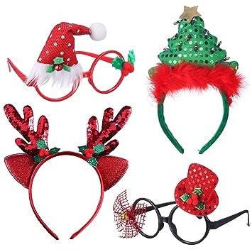 b5ff9e10948d Antner Pack of 4 Assorted Novelty Sequined Christmas Tree Headband Reindeer  Antler Headband Fancy Dress Glasses