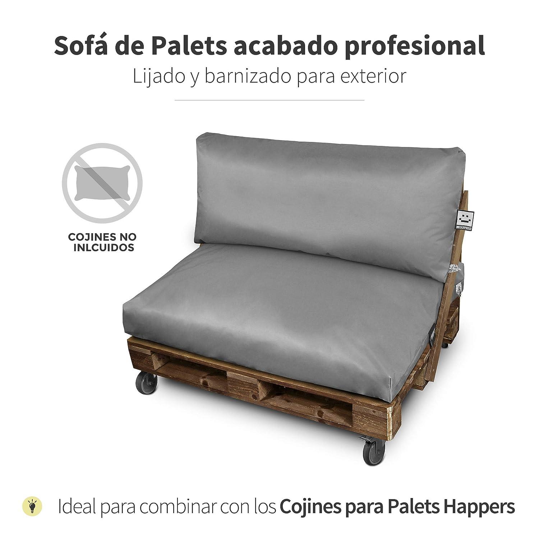 HAPPERS Sofá de palets Lacado con Ruedas 120x80