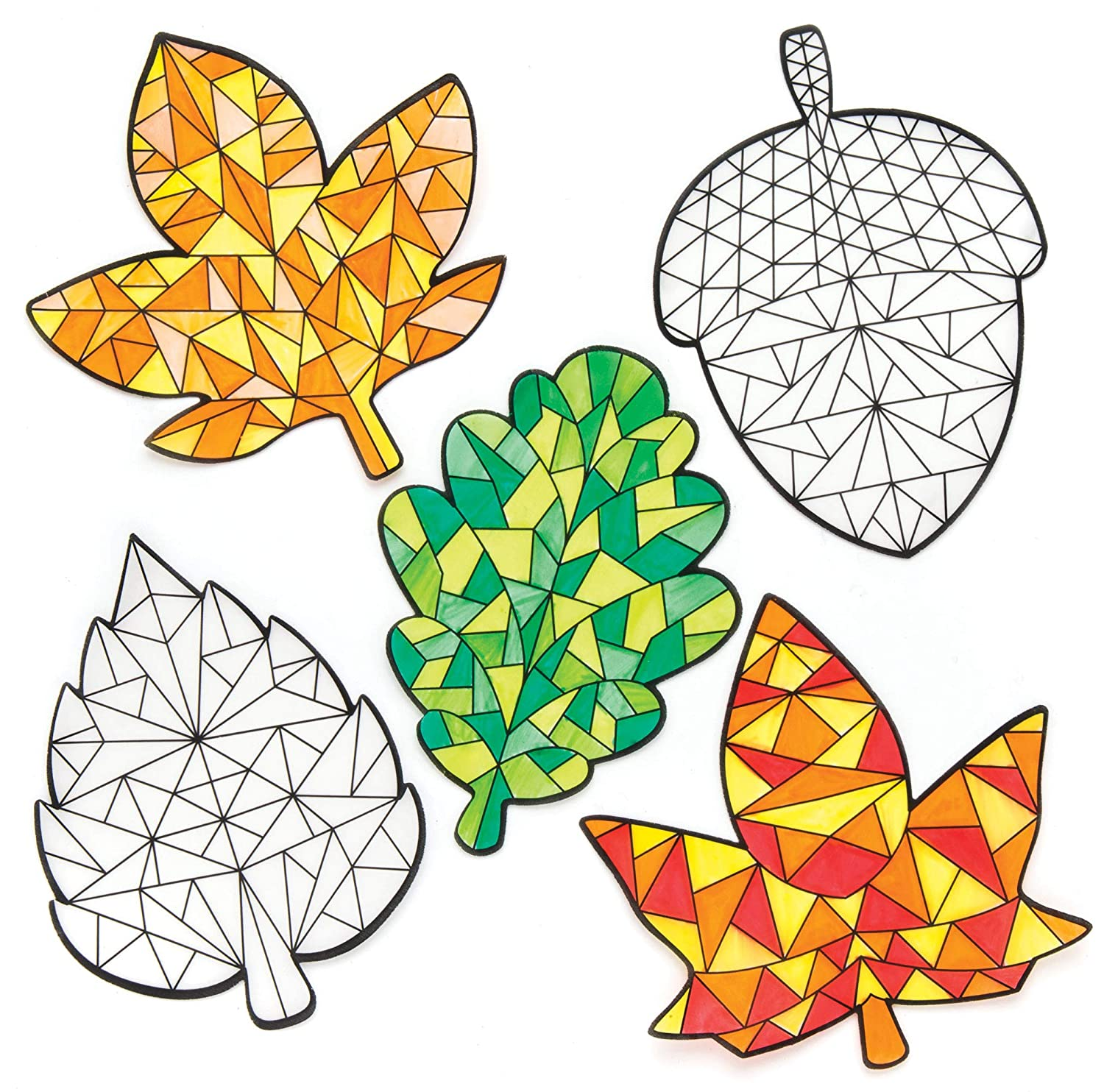 Suncatcher Stained Glass Effect for Children to Make and Display Baker Ross AR646 Autumn Color in Window Decorations Pack of 12