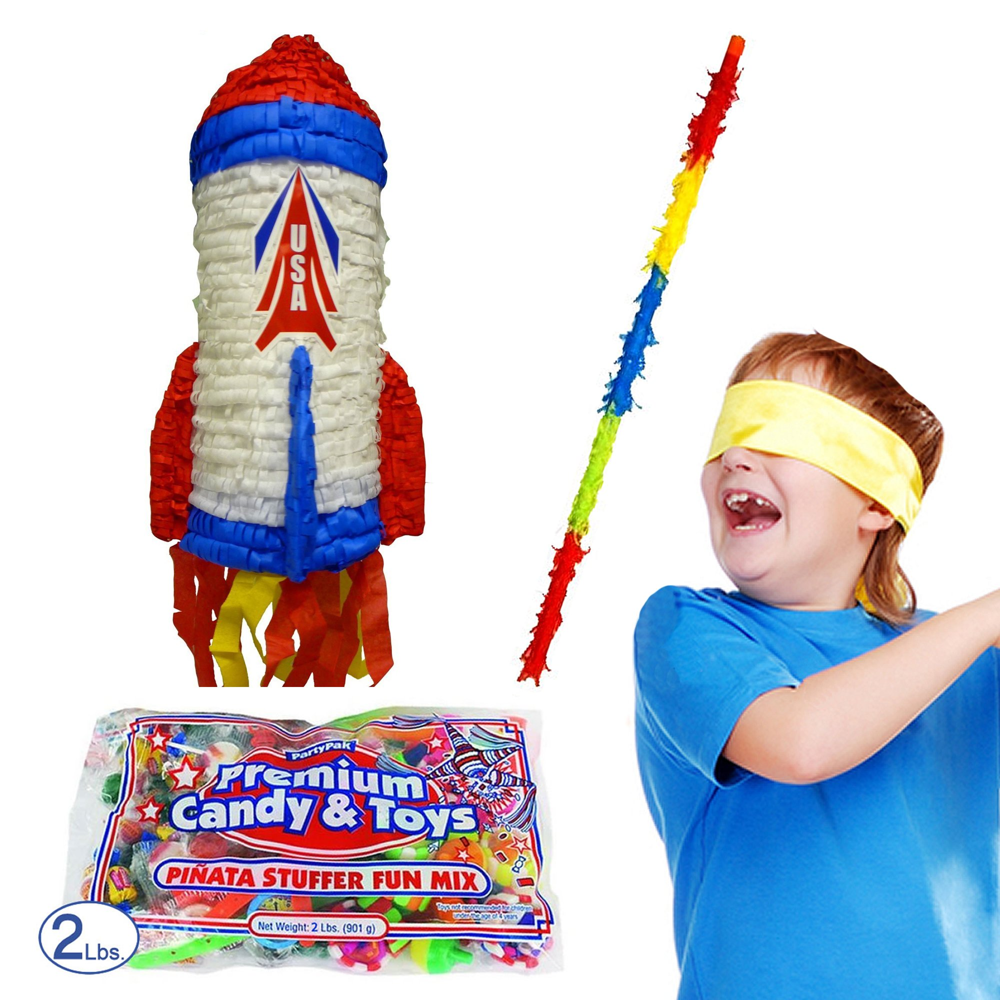 Pinatas Space Rocket Kit Including Buster Stick, Bandana, Toy and Candy Filler
