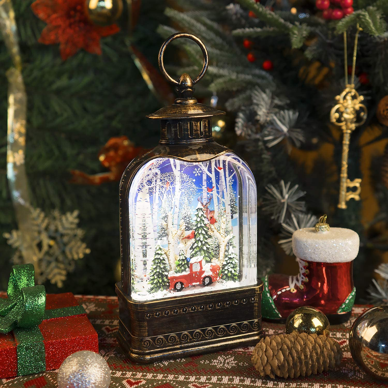 Christmas Snow Globe Lantern,USB & Battery Operated Lighted Swirling Glitter Water Lantern with Timer for Christmas Home Decoration, Snowman