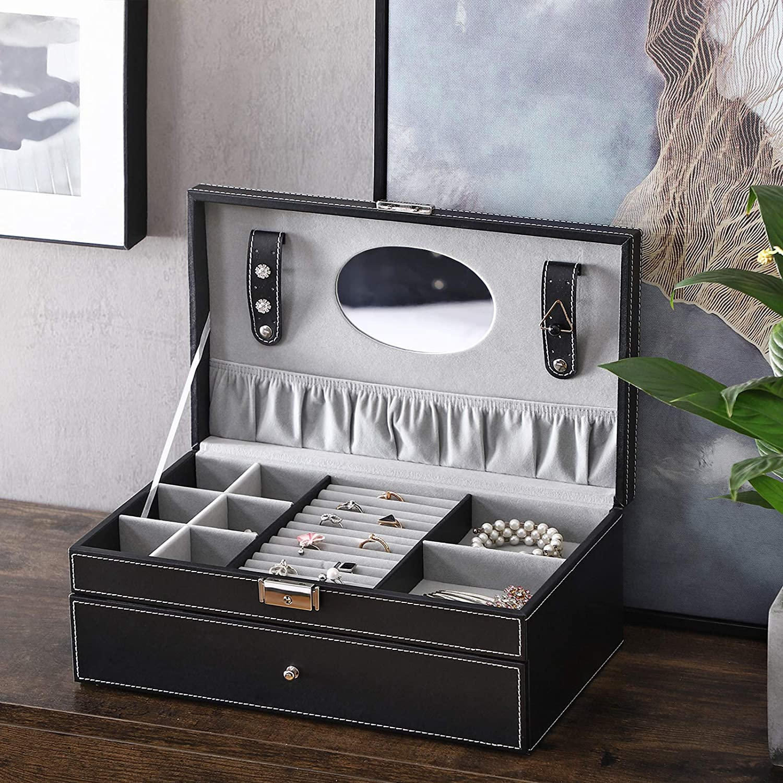 SONGMICS Caja Joyero Caja de Almacenamiento para Aretes Negro JWB11B Pulseras Relojes