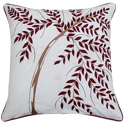S4Sassy White Home algodón Decorativo Cojín Bordado de la Hoja de la Cubierta Bote Sofá Cojín-14 x 14 Pulgadas