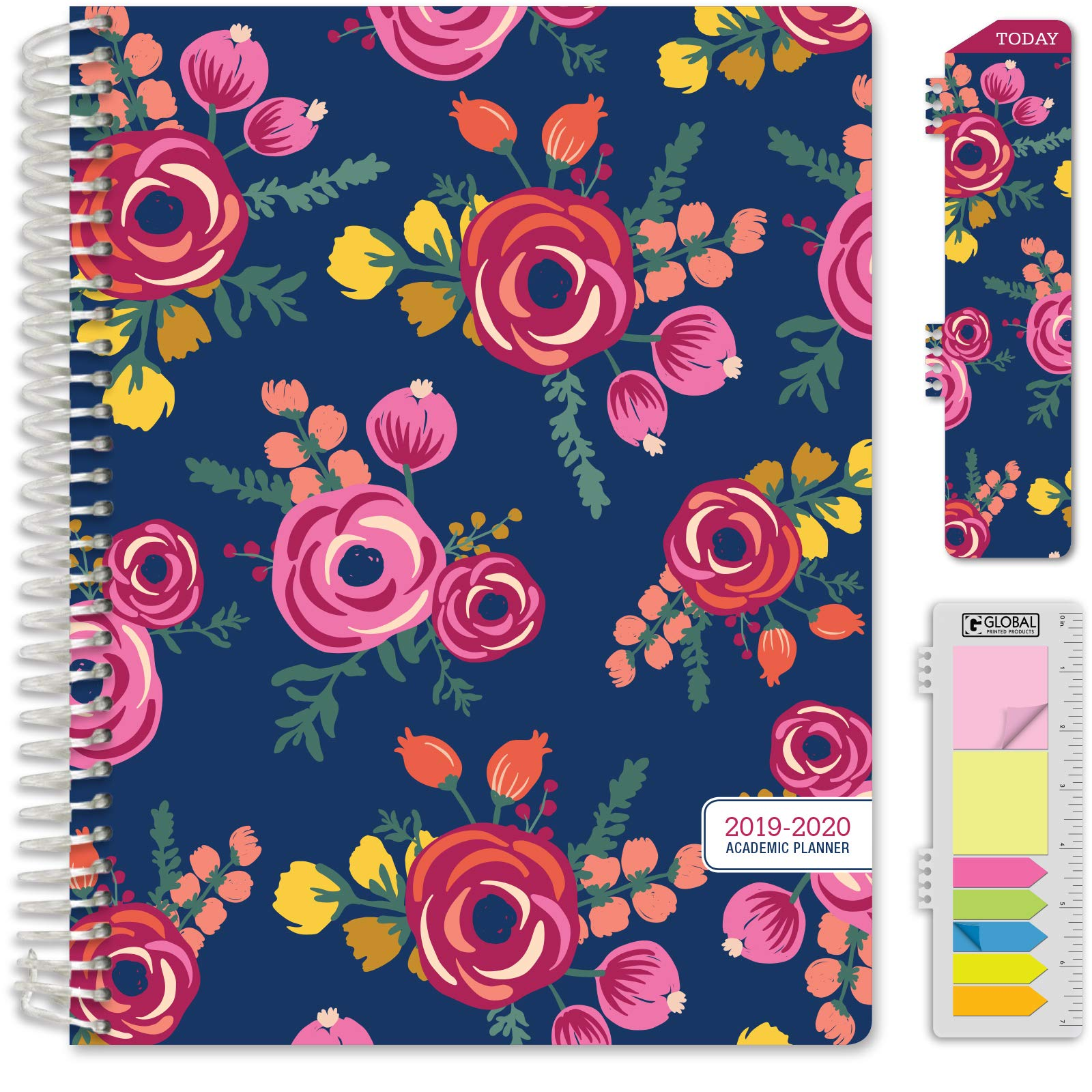 HARDCOVER Academic Year 2019-2020 Planner: (June 2019 Through July 2020) 8.5''x11'' Daily Weekly Monthly Planner Yearly Agenda. Bonus Bookmark, Pocket Folder and Sticky Note Set (Bloom Cover)