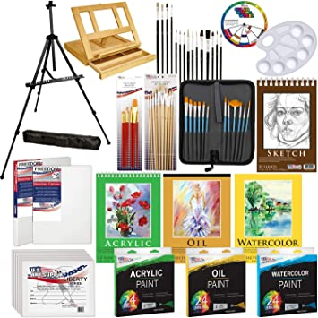 Us Art Supply 133Pc Deluxe Artist Painting Set With Aluminum And Wood Easels Pa