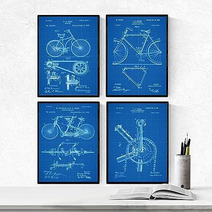 Nacnic Azul - Pack de 4 láminas con Patentes de Bicicletas 2. Set de Posters con inventos y Patentes Antiguas. Elije el Color Que más te guste.