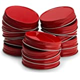 Mason Jar Lids, by Kook, Regular Mouth, Continuous Thread, Set of 16, Red