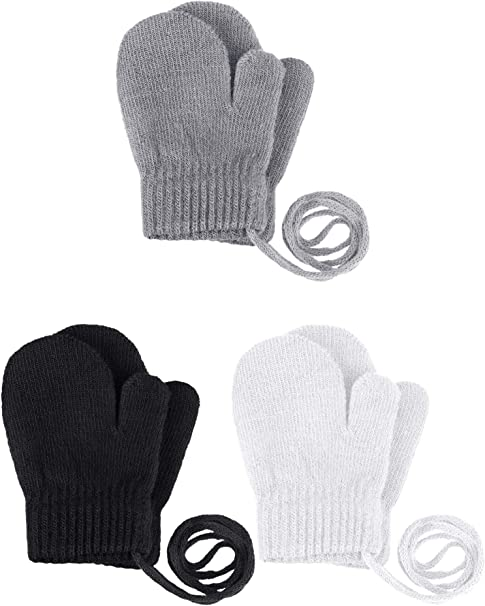 A Pair of Mens Warm Winter Knit Gloves Soft Stretch Full Finger Mittens