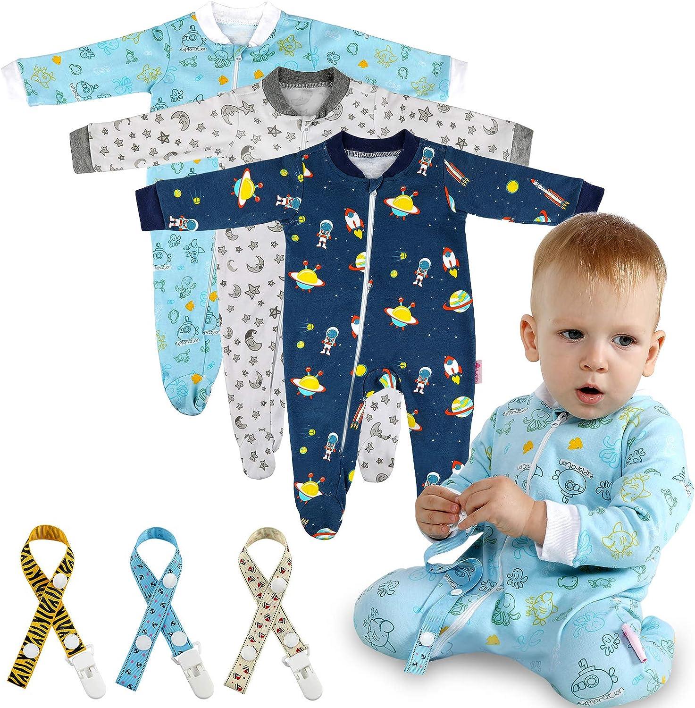 Lictin 6 Piezas Pijama para Bebé- Mameluco de Algodón con Cremallera con Puntos de Pegamento Antideslizantes para Pies,Pintura de Estrella para Bebes de 0-10 Meses