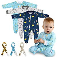 Lictin 6 Piezas Pijama para Bebé- Mameluco de Algodón con Cremallera con Puntos de Pegamento Antideslizantes para Pies…