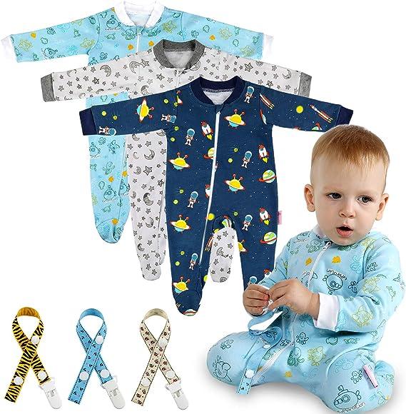 Lictin 6 Piezas Pijama para Bebé- Mameluco de Algodón con Cremallera con Puntos de Pegamento Antideslizantes para Pies, Pintura de Estrella para Bebes de 0-10 Meses (6-10 Meses): Amazon.es: Ropa y accesorios