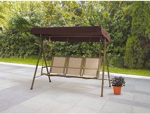 Sand Dune columpio para exteriores con 3 asientos cómodos y ventilados, estructura duradera de acero con