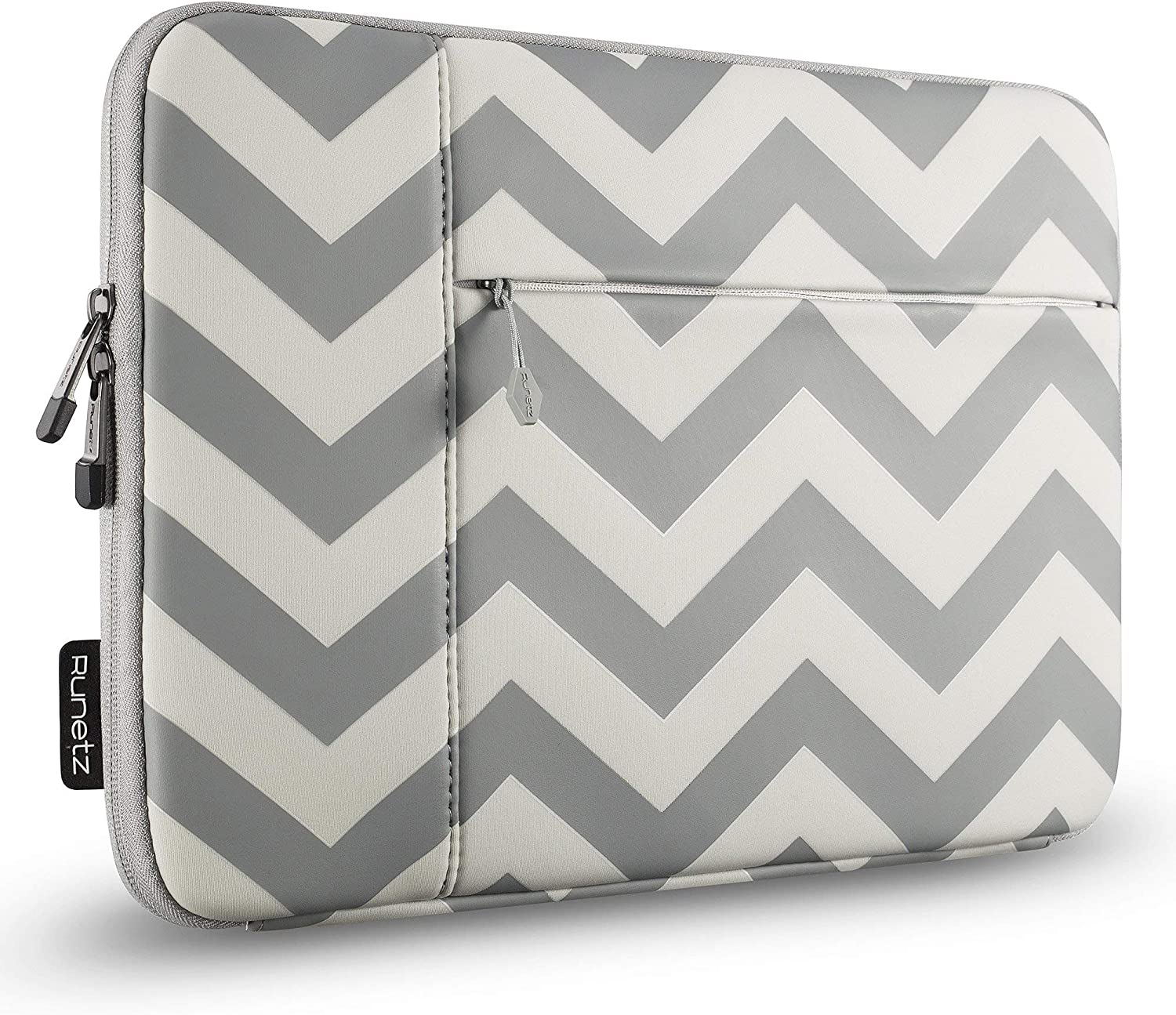 Runetz MacBook Pro 16 inch Sleeve Neoprene 2020 2019 Laptop Sleeve Notebook Cover Bag Case with Accessory Pocket for New 16 inch MacBook Pro, Chevron Gray