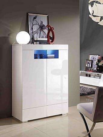Kommode modern weiß  Highboard Kommode Weiß Wohnzimmer Schlafzimmer Modern LED ...