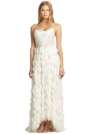 Amazon.com: alice + olivia Eaddy Embroidered Feather Evening Gown ...