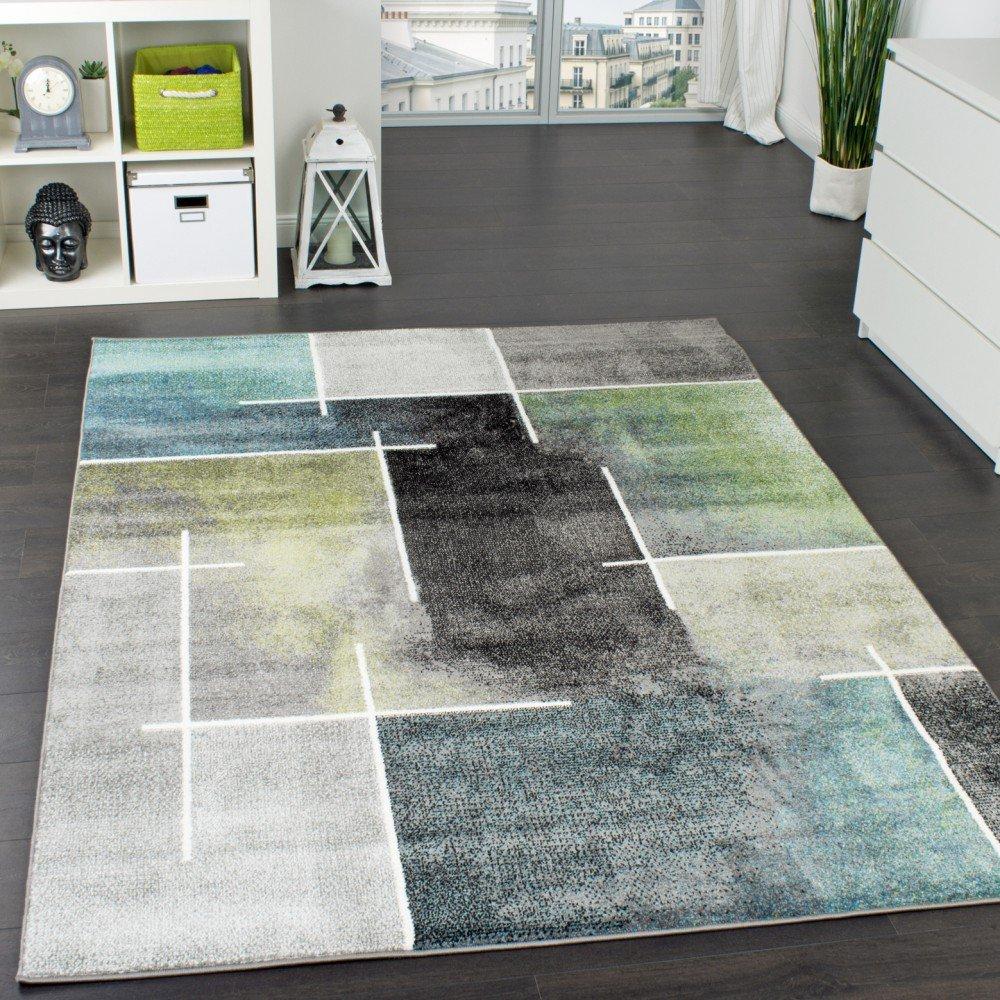 Paco Home Designer Teppich Kariert Modern Trendig Meliert Eyecatcher in Grau Türkis Grün, Grösse 200x280 cm
