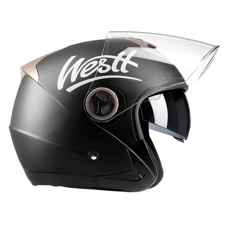 Westt® Jet · Open face, jet motorcycle helmet in matte black with double visor. ECE approved and 5 years warranty Westt Ventures SL W-101