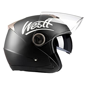 Westt® Jet · Casco de moto jet abierto en negro mate con doble visor.