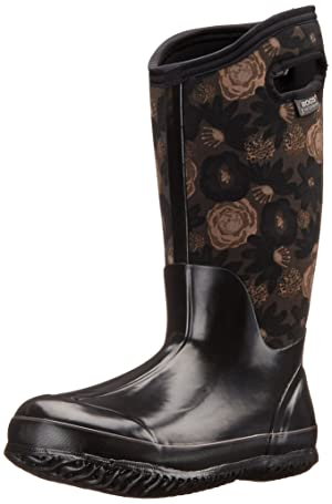 Bogs Women's Classic Watercolor Tall Winter Snow Boot,Black/Multi,7 M US