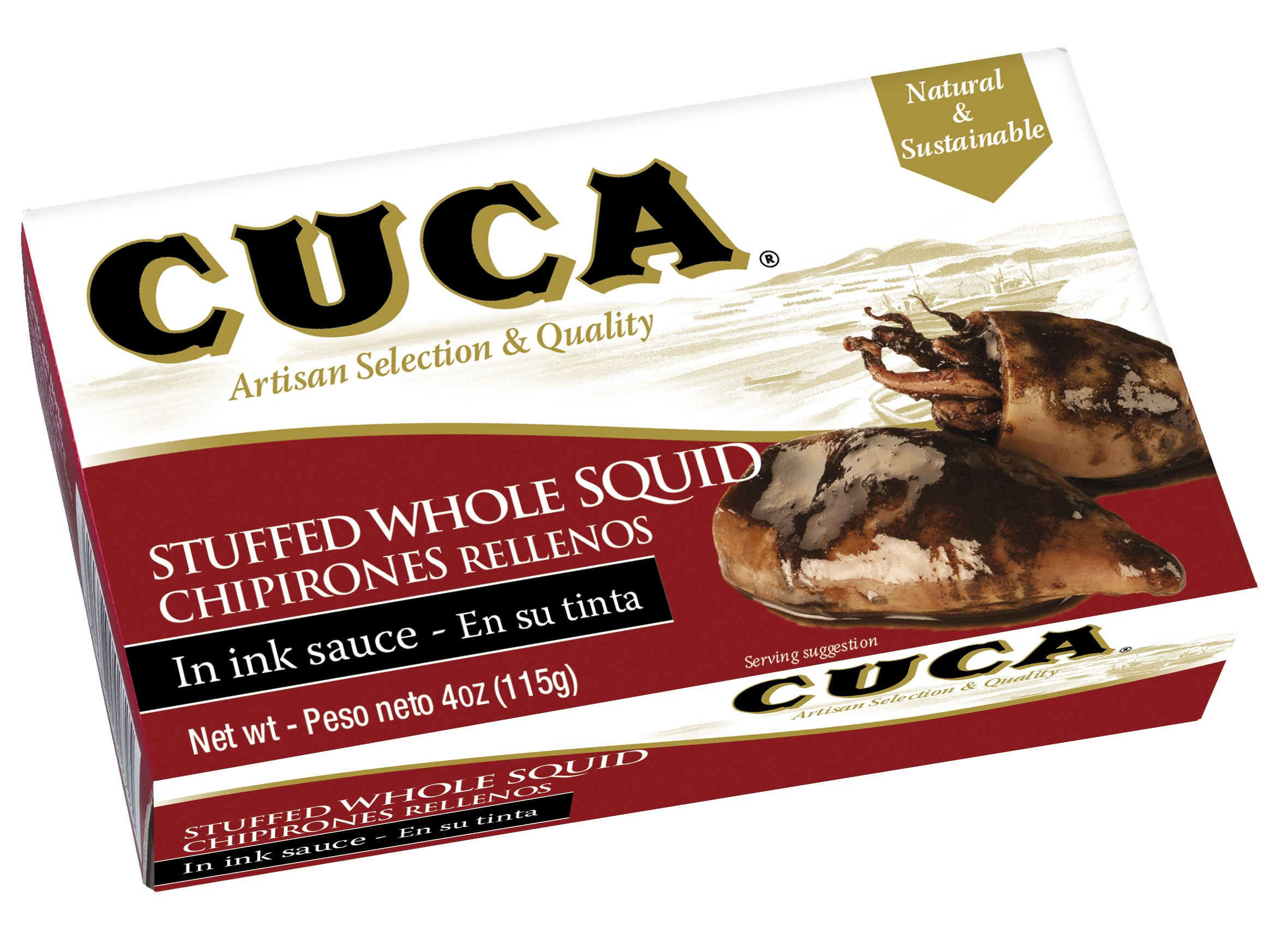 '' Cuca'' Stuffed Whole Squid (Calamares) in Ink Sauce 4 Oz (Canned) (Pack of 25)