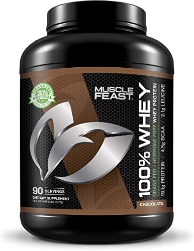 Muscle Feast 100 Whey Protein Blend, Grass Fed Hormone Free, Blend of Concentrate, Isolate, and Hydrolyzed Whey Protein 5lb, Chocolate