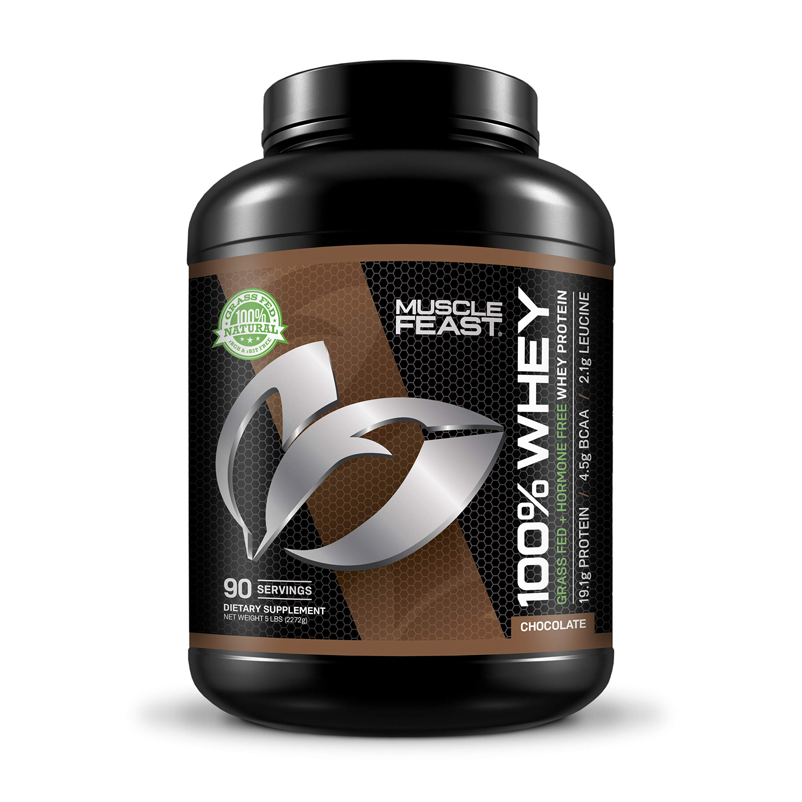 100% Whey Protein | Grass Fed & Hormone Free | Blend of Isolate, Concentrate and Hydrolyzed Whey Protein (5lb, Chocolate)
