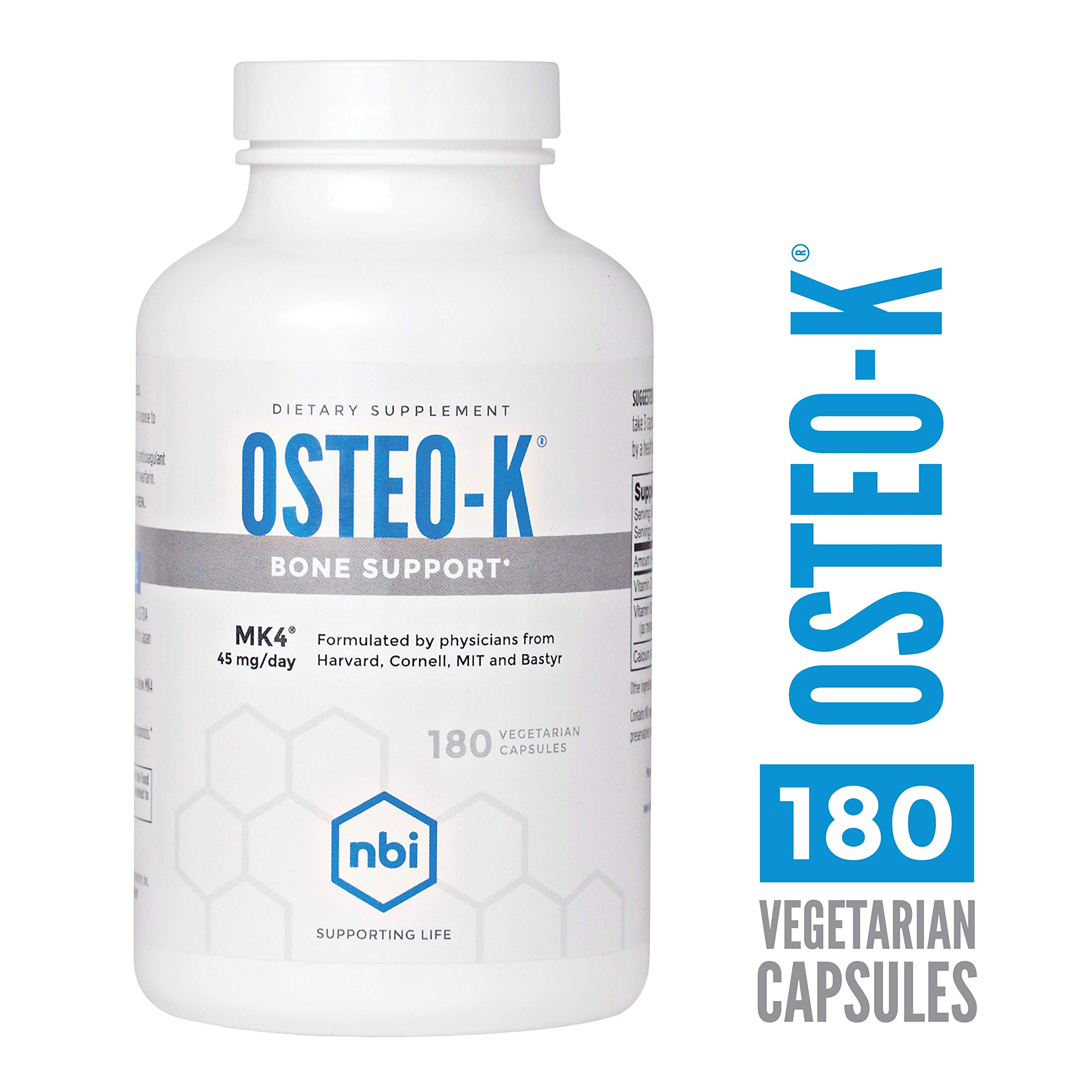 NBI Osteo-K Bone Support | Vitamin D & K Complex with Calcium Citrate Supplement | 45mg Vitamin K2 (MK4) for Strong Bone Health & Function | 180ct Veggie Capsules