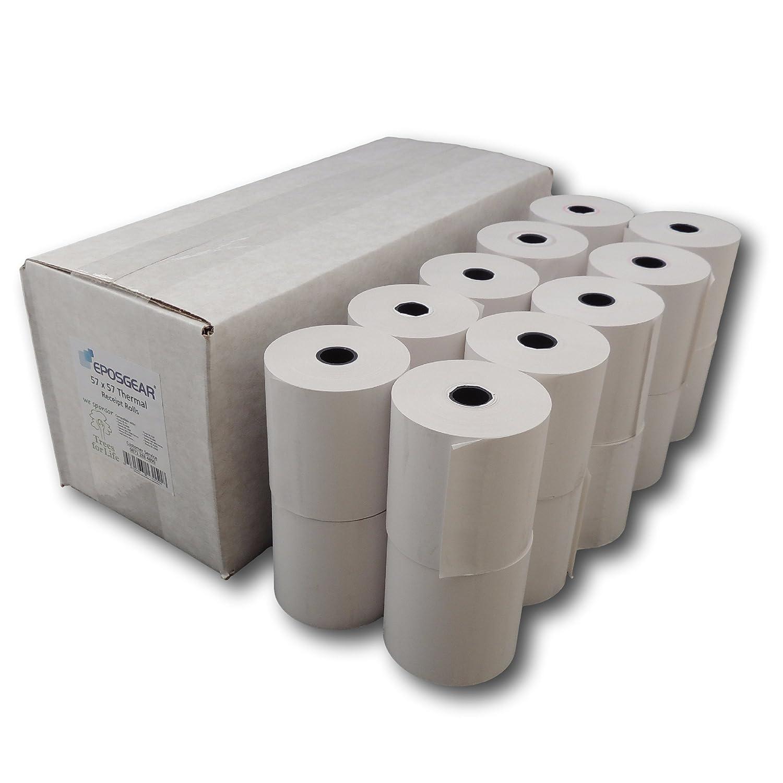 EPOSGEAR® (20 Rolls) 57mm x 57mm 57x57 Thermal Paper Till Cash Register Machine Receipt Printer Rolls