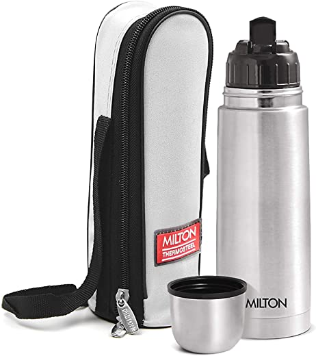 Milton Thermosteel Flip Lid Flask, 350 milliliters, Silver