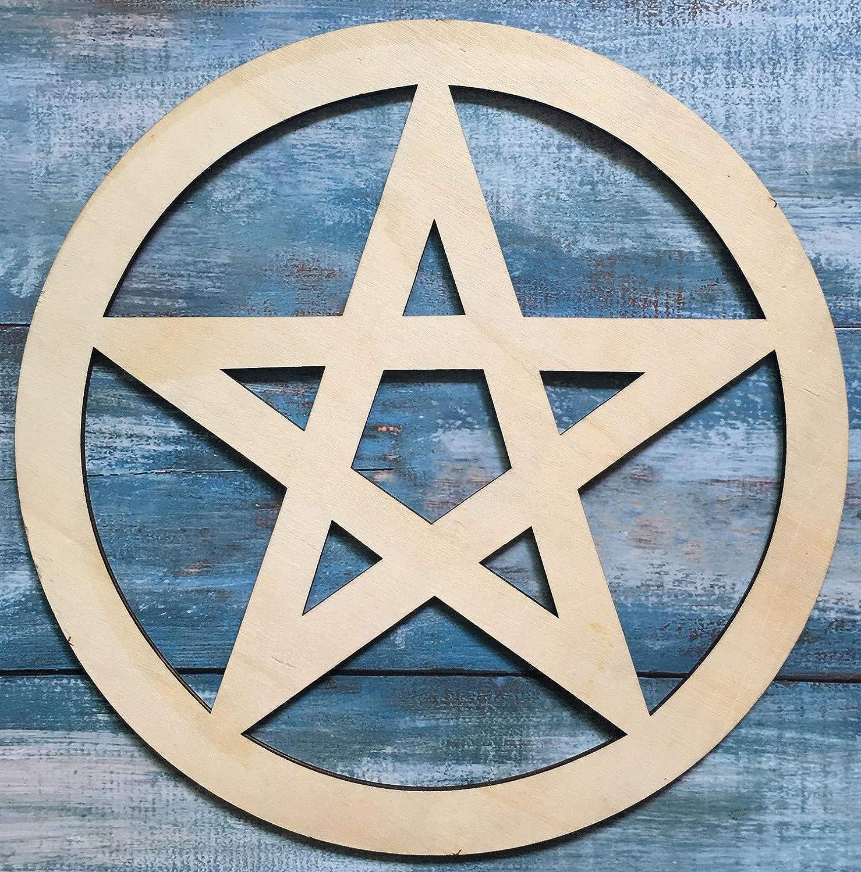 Simurg Wooden Pentacle Wall Sign, Wooden Pentagram Wall Hanging Wall Decor Art