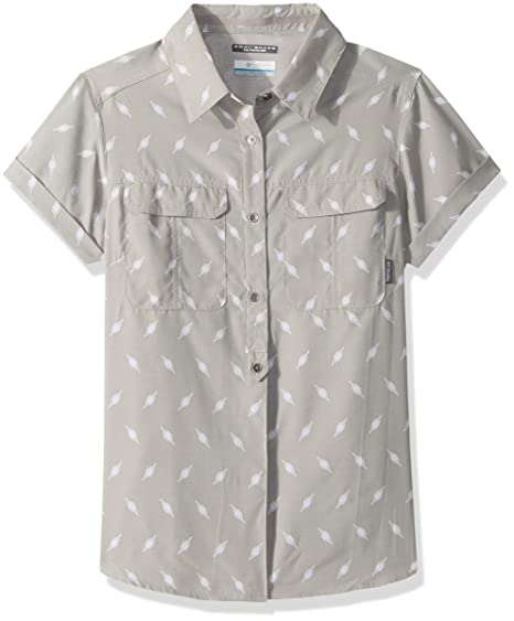 33a3f9d01d8 Columbia Women's Pilsner Peak Novelty Short Sleeve Shirt, Flint Grey Digi  Shibori Part, X