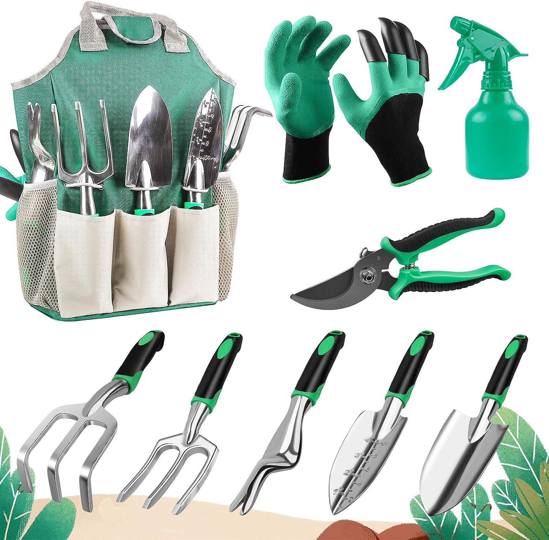 Garden Tools Set Water BOGER - 9 Piece Heavy Duty Gardening Kit with Rubber Non-Slip Outdoor Hand Tools, Storage Organizer for Indoor Miniature Fairy Garden Plant Care