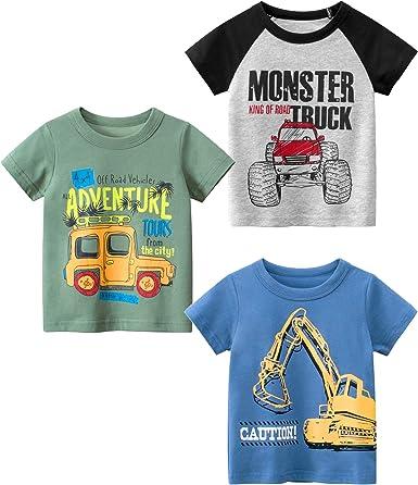 Eocom Little Boys Summer Clothes Cartoon Cotton Tops Tees Kids Baby Toddler Short Sleeve Casual T-Shirts