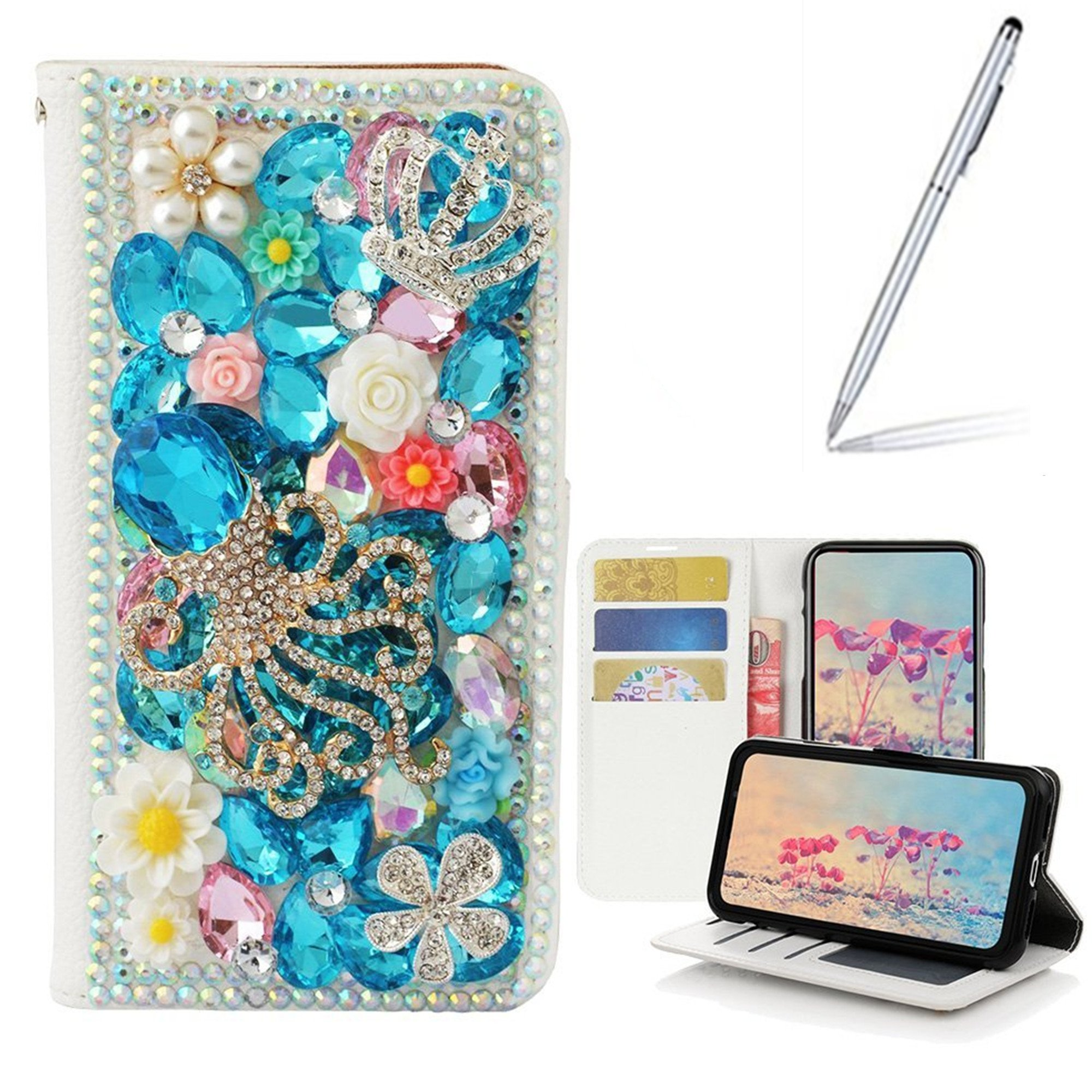 Yaheeda Galaxy S9 Case with 2 in 1 Stylus and Ballpoint Pen, [Stand Feature] Butterfly Crystal Wallet Case Premium [Bling Luxury] Leather Flip Cover [Card Slots] For Samsung Galaxy S9