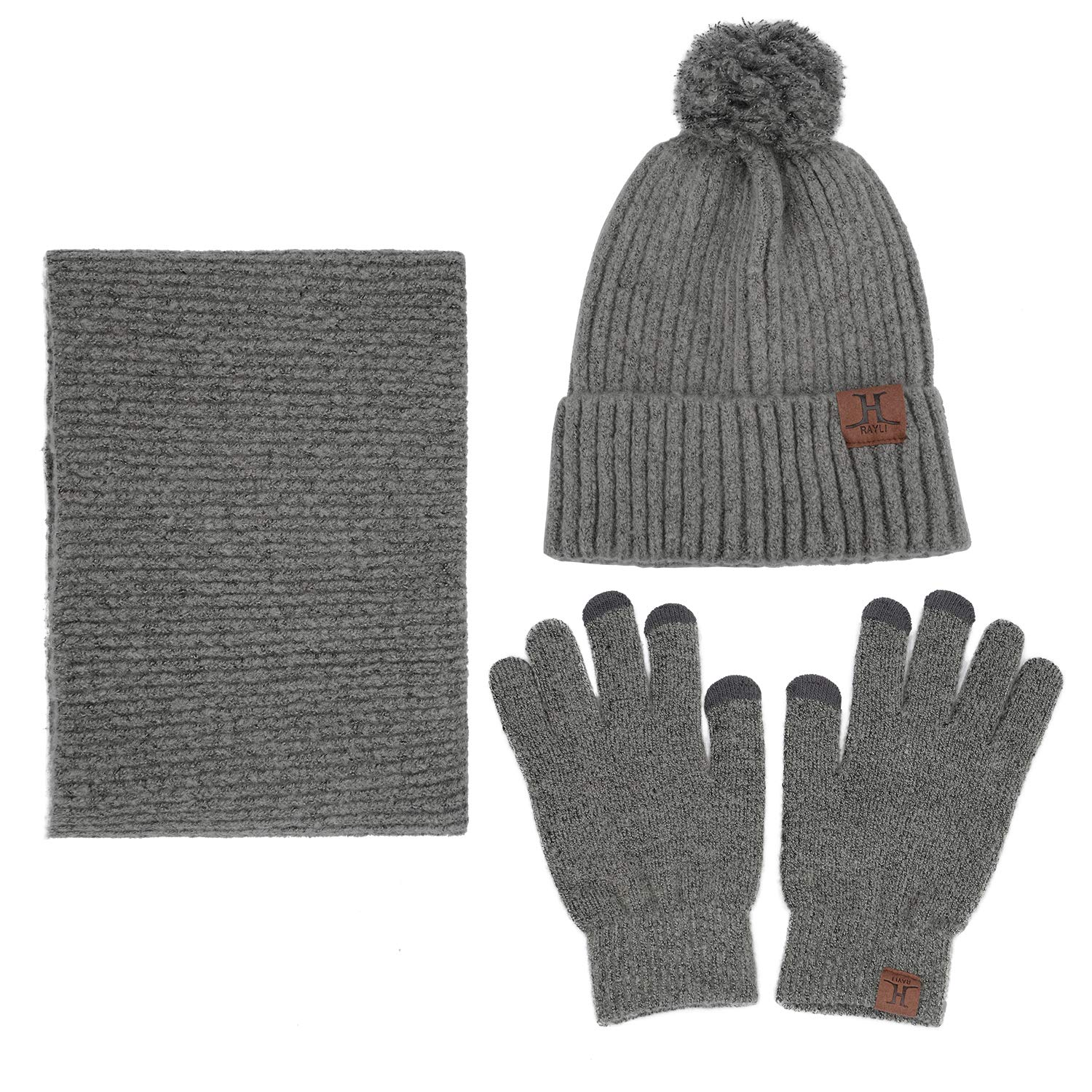 Maylisacc Pom Pom Hat-and-Scarf-Set-for-Women With Touch Screen Gloves Neck Warmer Grey