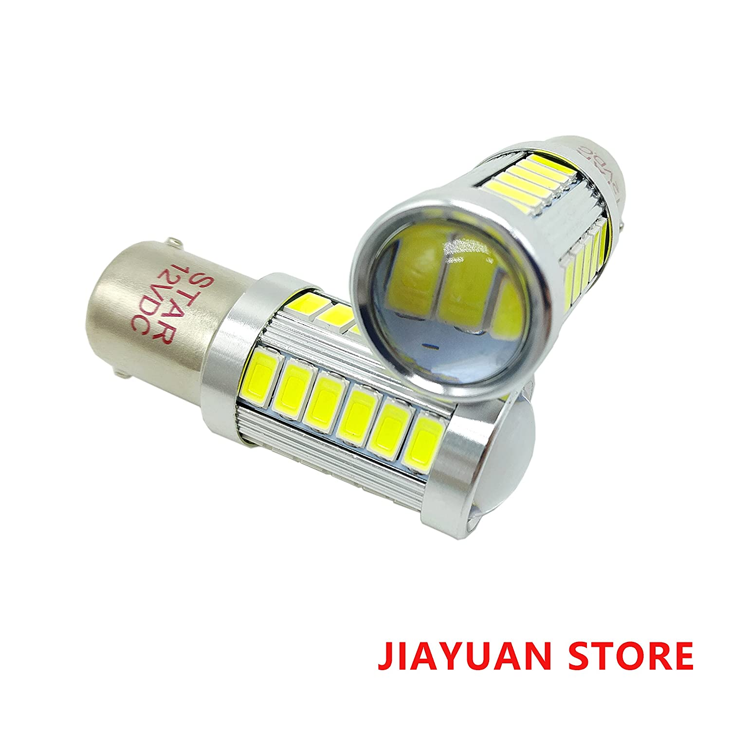 BA15D 24 SMD 1076 1142 68 90 1004 1130 1158 1176 1178 Car LED Bulbs Replacement for RV Camper Turn Tail Singnal Lamp, 12V DC, White, Pack of 2 Stars Opto