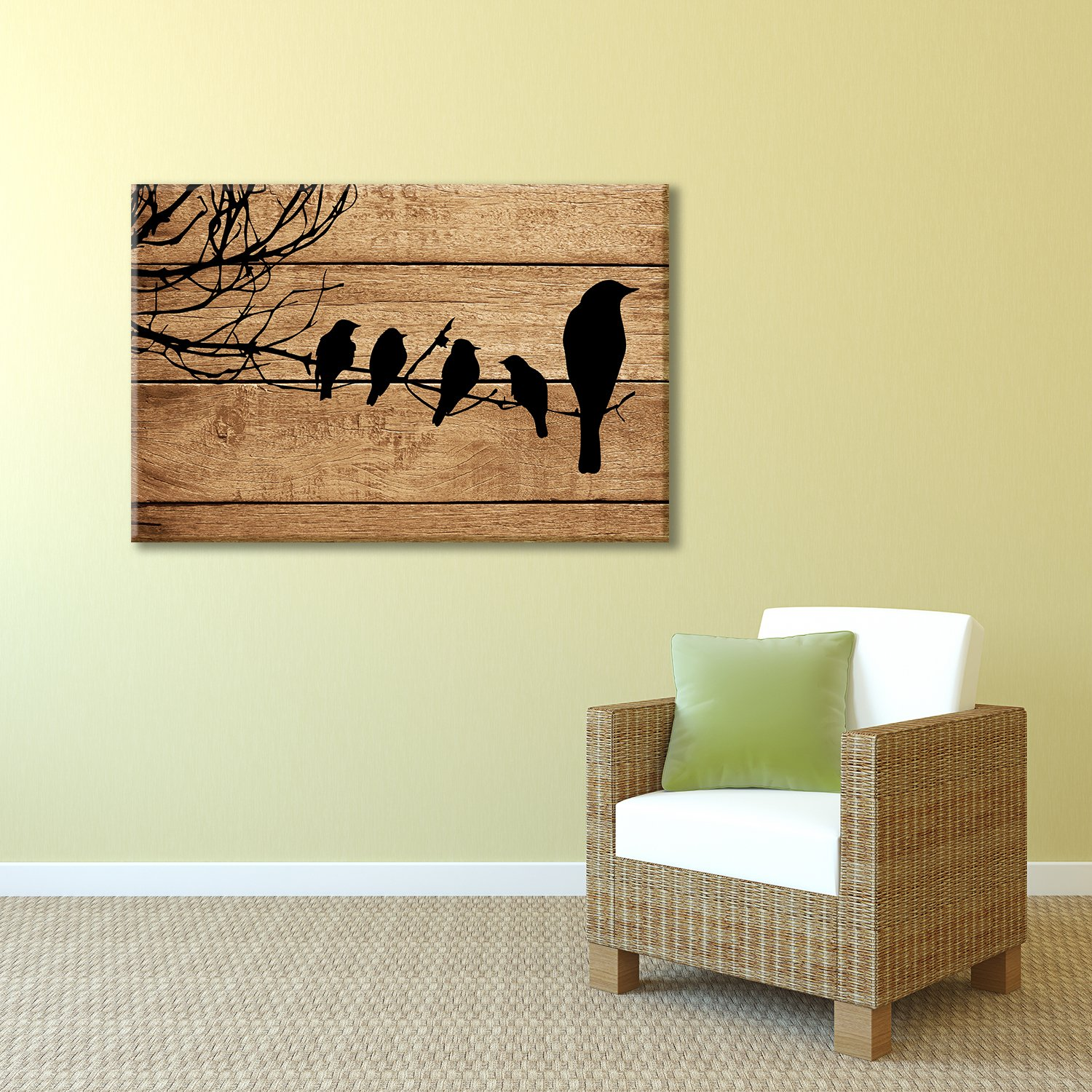 Artistic Birds on Branch on Vintage Wood Background - Canvas Art ...