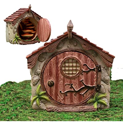 Atlantic Collectibles Enchanted Fairy Garden Miniature Cottage Dome House With Hinged Door & Toadstool Stairs Figurine Do It Yourself Ideas For Your Home: Home & Kitchen