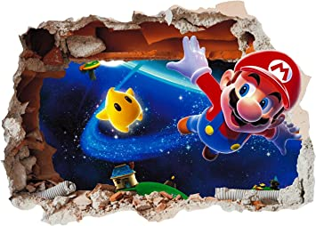 Super Mario Brothers Hole in Wall 3 Print Vinyl Sticker Decal Children Bedroom