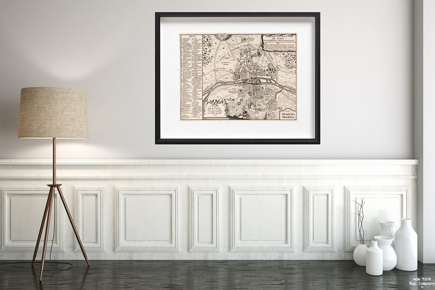 Amazon.com: Map|World Atlas, Cinquieme Plan de La Ville de Paris. 1714|Historic Antique Vintage Reprint|Size: 18x24|Ready to Frame: Posters & Prints