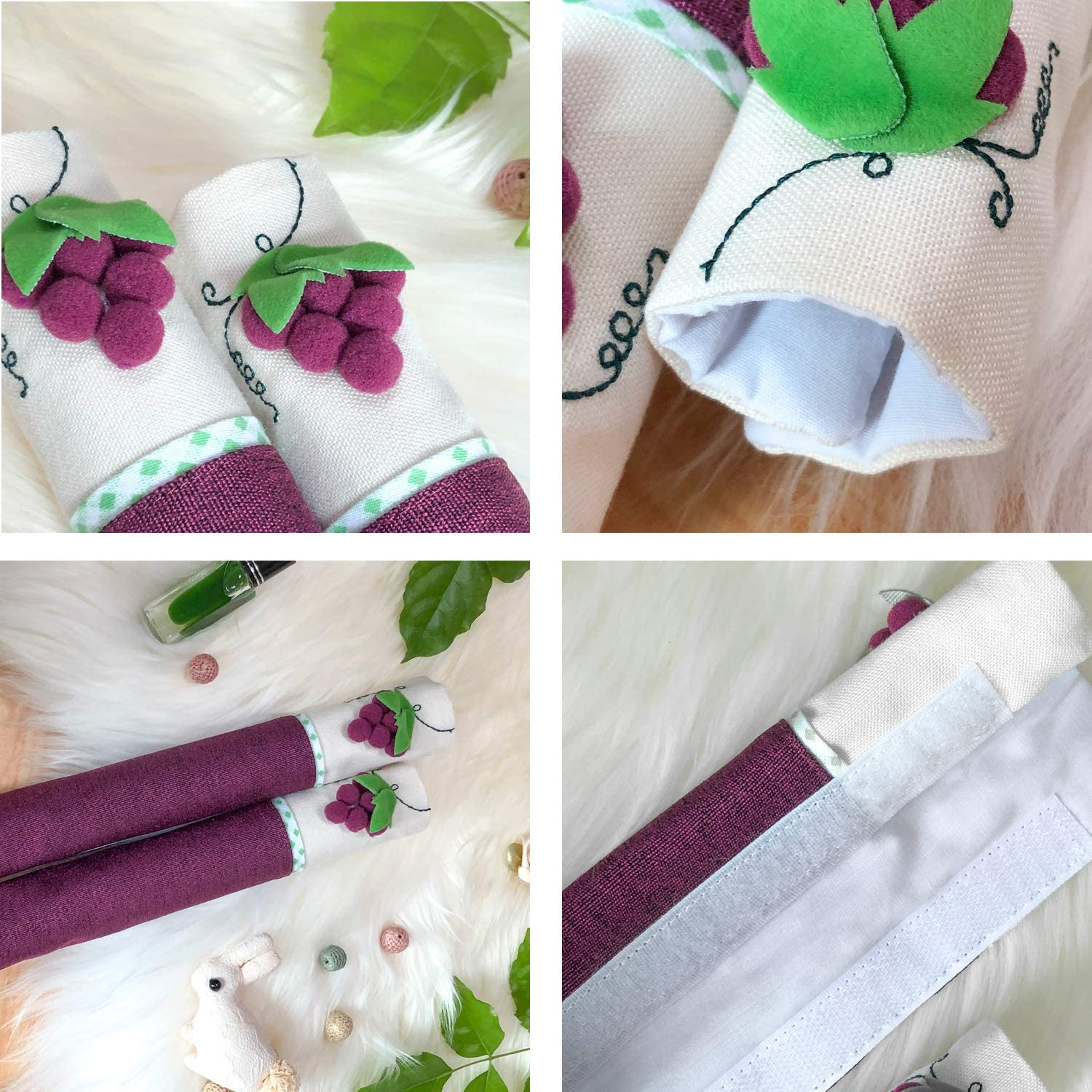 KEFAN Refrigerator and Door Handle Covers Kitchen Appliance Protective Gloves Anti-Slip Decor for Ovens Microwaves Purple