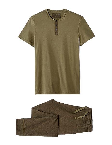 Celio LIPYARMY, Conjuntos de Pijama para Hombre, Verde (Khaki 1852), Medium