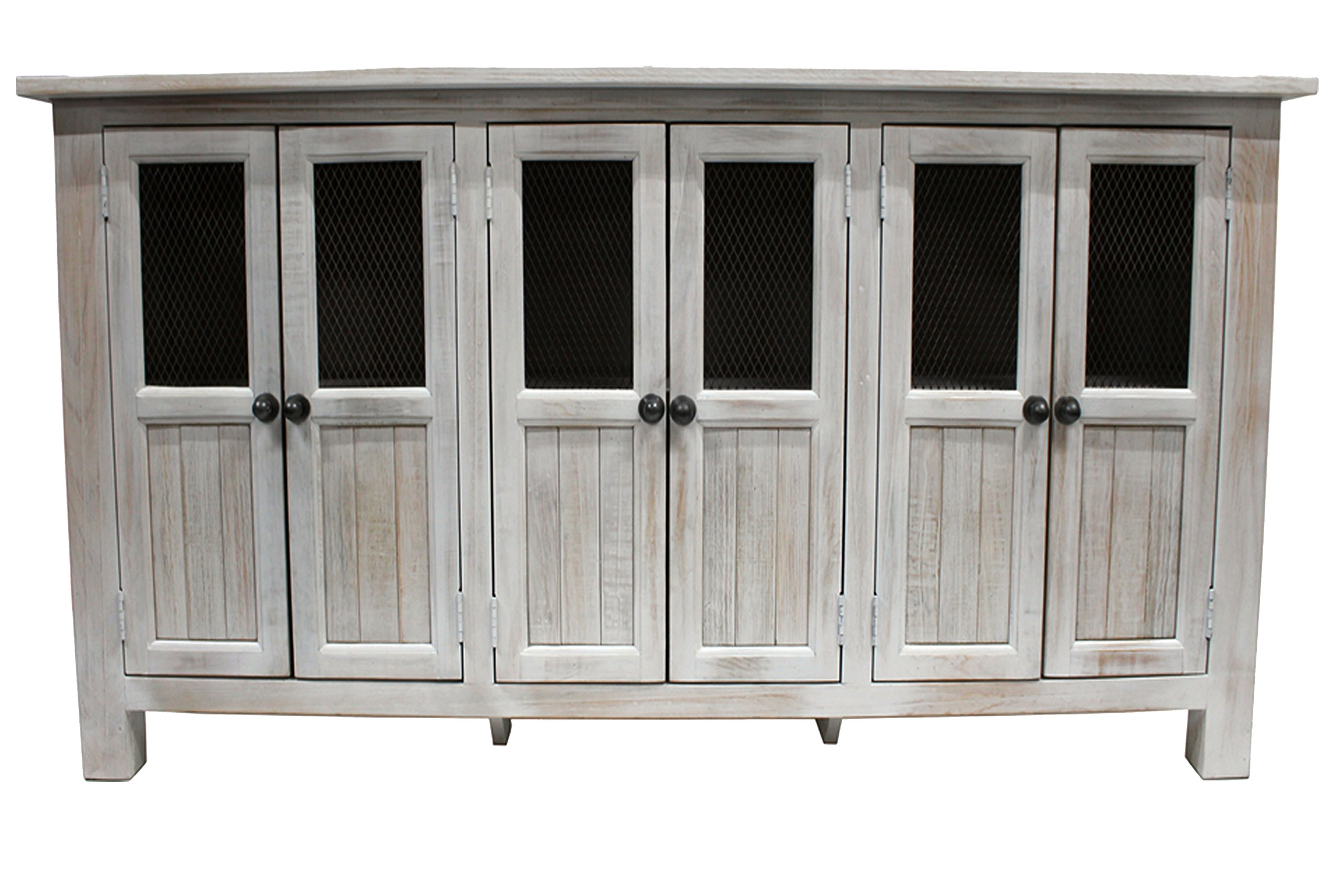 Crafters and Weavers Gaines 6 Door Sideboard, Media Console - Distressed White - Brushed and distressed subtle White finish Solid pine wood 6 Doors with mesh doors (allows remote access to electronics) - sideboards-buffets, kitchen-dining-room-furniture, kitchen-dining-room - 81rHJzFylhL -