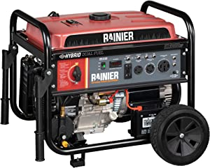 Rainier R12000DF Dual Fuel (Gas and Propane) Portable Generator with Electric Start – 12000 Peak Watts & 9500 Rated Watts – CARB Compliant – Transfer Switch Ready