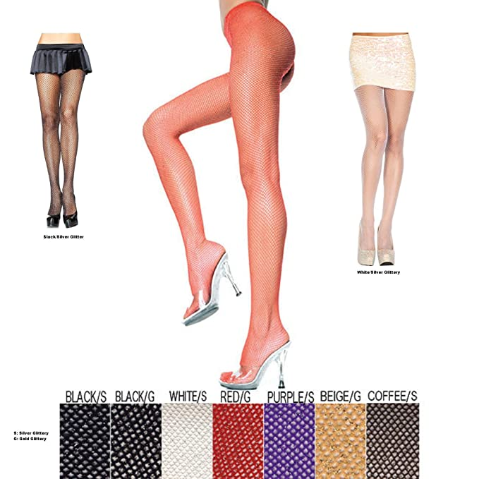f3a140cf41e64 Amazon.com: LYCRA GLITTER SEAMLESS FISHNET PANTYHOSE(BLACK/GOLD, ONE SIZE):  Adult Exotic Hosiery: Clothing