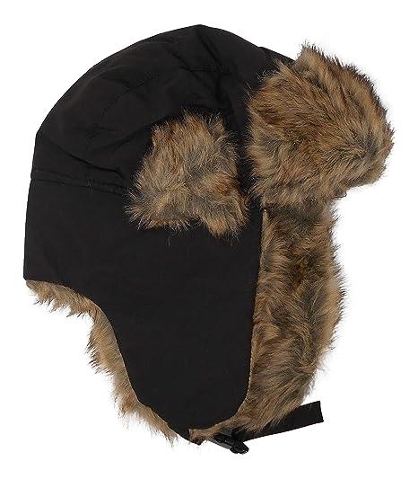 f5f83d36 Premium Winter Trapper Hat Heavy Faux Fur Lining - Black at Amazon ...