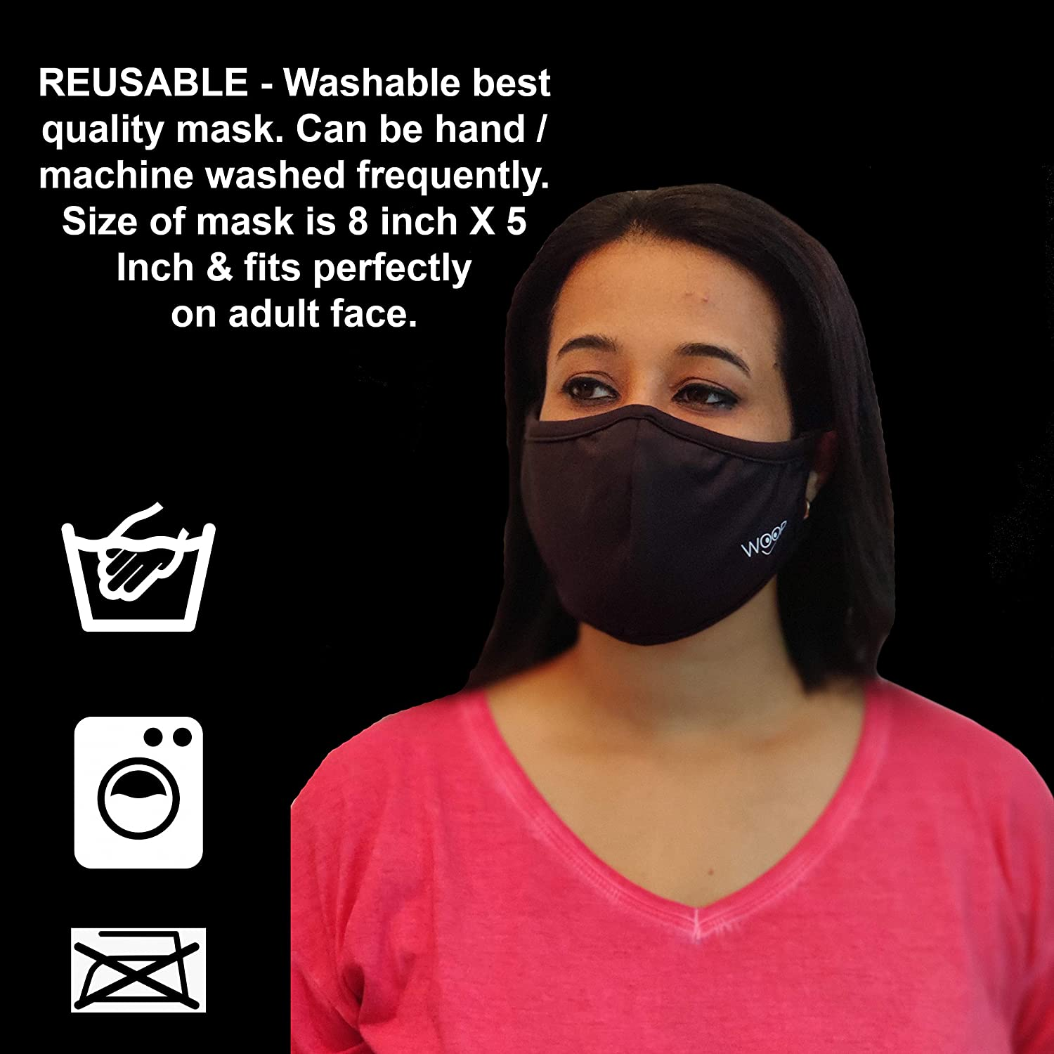 Woop Washable and Reusable Face Mask, Black (Pack of 3)
