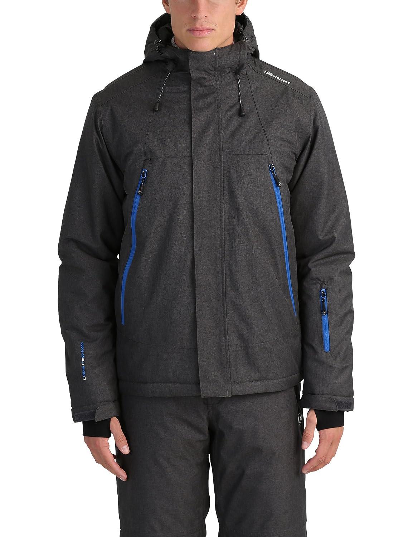 Ultrasport Mel Skijacke Herren - Outdoorjacke Männer - Winterjacke Grau - Snowboardjacke zum Überziehen - Funktionsjacke mit Kapuze - Hardshelljacke wasserdicht