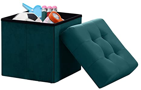 Awe Inspiring Ornavo Home Foldable Tufted Velvet Square Storage Ottoman Cube Foot Rest Stool Seat 15 X 15 X 15 Teal Velvet Ocoug Best Dining Table And Chair Ideas Images Ocougorg